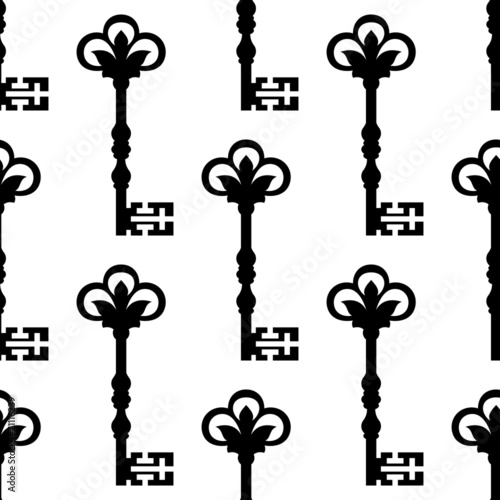 Old antique key seamless background pattern - 71116239