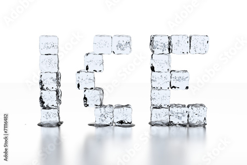 canvas print picture Ice Cube letters ICE - neutral white