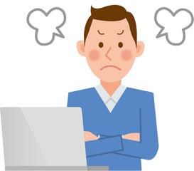 男性 パソコン 怒る