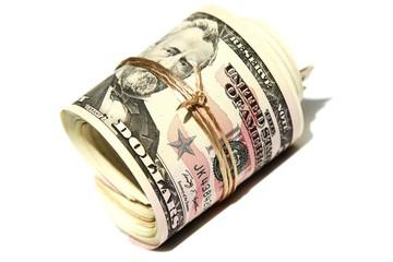 Dollarnoten eingerollt - isoliert