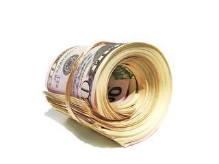Dollarnoten eingerollt und gebunden - isoliert