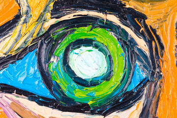 Oil painting of abstract human eye.