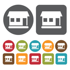 House Icon. Recreation Icons Set. Round And Rectangle Colourful