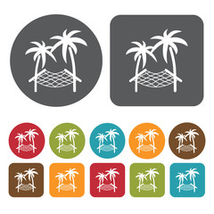 Tropical Trees With Sleeping Net Icon. Recreation Icons Set. Rou