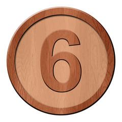 Jeton en bois : 6