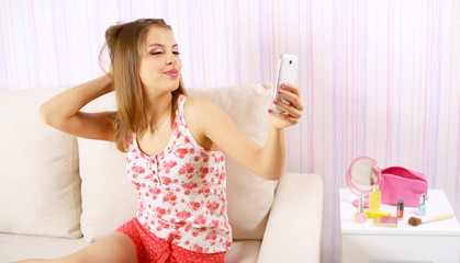 Attractive girl with a smartphone