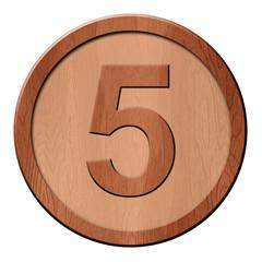 Jeton en bois : 5