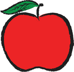 doodle red apple