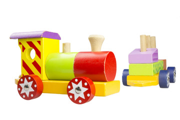 Children's wooden locomotive