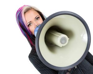 Frau mit Megaphone