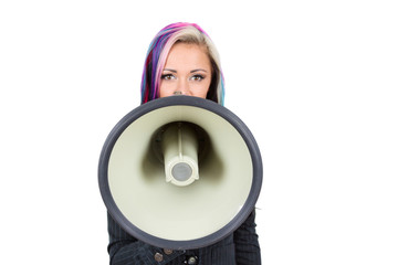 Young woman shouting in megaphone