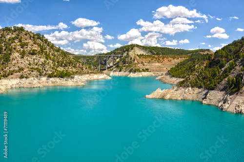 Foto Spatwand Kanaal Contreras Reservoir, Spanish Infrastructures, Júcar River, Villargordo del Cabriel