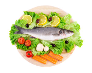 Composition of fresh seabass and vegetables.