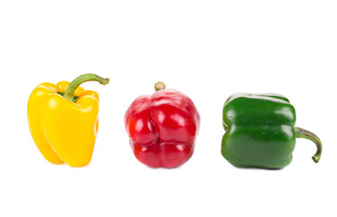 Three bell peppers as a traffic light.