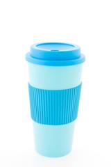 Blue plastic coffee mug isolated on white background