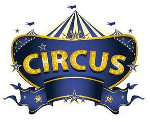 Blue circus sign