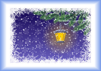 Christmas card, lamp, branches and snowflakes