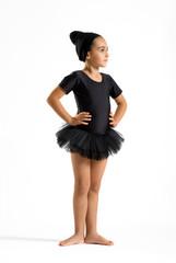 Cute elegant little girl in a black tutu