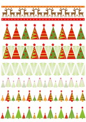 Seamless borders with colorful firs for New Year holidays