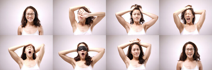 Asian woman in different expression