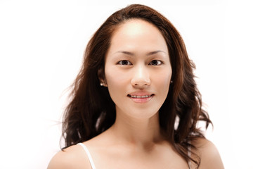 Asian chinese girl posing without make up isolated