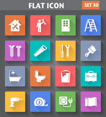 Home Repair and Tools Icons set in flat style with long shadows.
