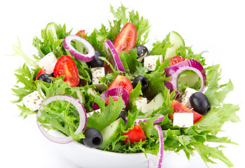Fresh tasty salad on white background