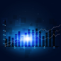 Finance Stock Diagram Blue Background
