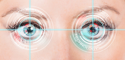 Close-up woman eye with laser medicine, technology concept.