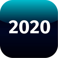 year 2020 blue icon