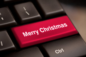 Computer keyboard with Christmas key