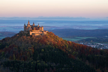 Castle Hohenzollern at Sunrise in autumn