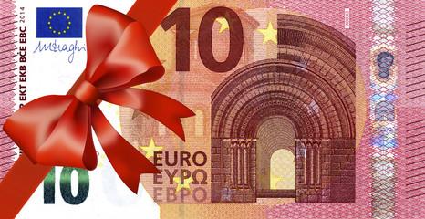 10 Euroschein neu mit breiten Band an Ecke