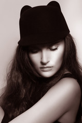 Elegance. Sophisticated Authentic Lady In Retro Hat