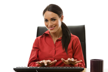 businesswoman working at office desk