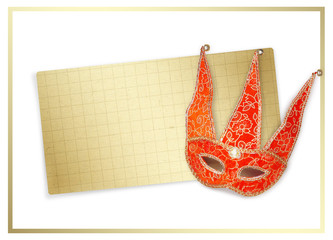 Carnival red mask with old paper for greeting on isolated white