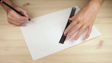 Woman draws lines