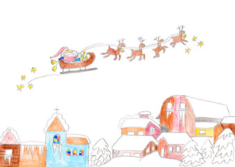 Child's drawing of Santa Claus flying over houses with sleigh.