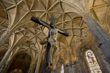 Christ, celling and column from Jeronimos Monastery, Belem.