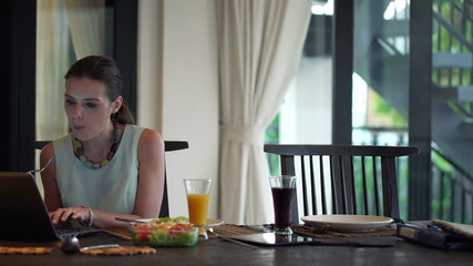Business couple talking, using laptop and eating dinner at home