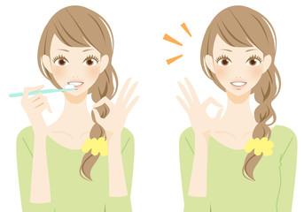 マルを表現 歯磨きする笑顔の女性