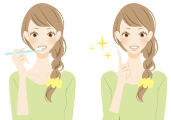 デンタルケアをする笑顔の女性 ポイント