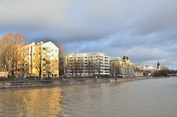 Turku, Finland. Aurajoki riverside