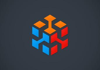3D cube data abstract vector logo