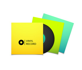 Black vintage vinyl record with blank yellow blue cyan and green