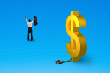 cheering man free from dollar sign shackle