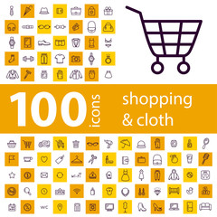Big set of 100 icons of shopping on line
