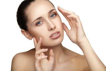 Beautiful young woman skin care close-up. Beauty