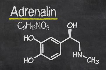 Schiefertafel mit der chemischen Formel von Adrealin