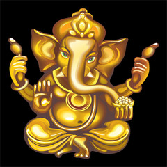Collection of mascots: golden Ganesha